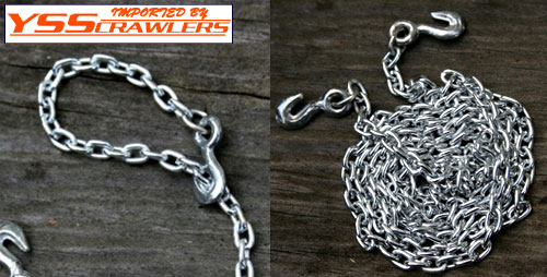 Gear Head RC 1/10 Scale (approx. 5/16inch) chain, 24 inches long (20 scale feet) with grab hooks