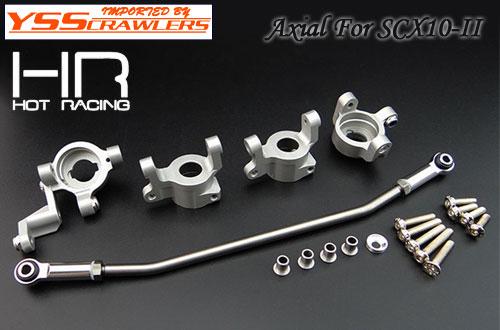 HR アルミステアリングナックル&Cハブセット for Axial SCX10-II AR44[シルバー]
