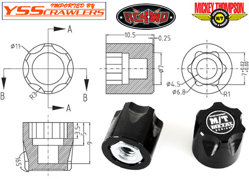 RC4WD Mickey Thompson Metal Series 1/10 Wheel Center Caps (2)