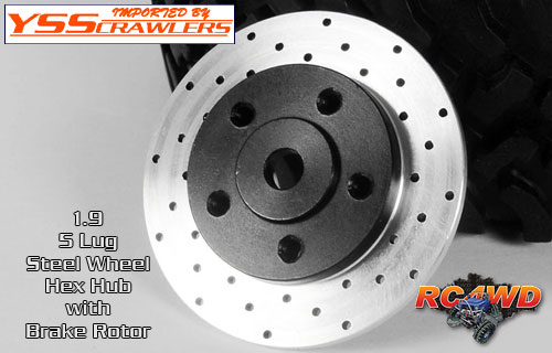 RC4WD 1.9 5 Lug Steel Wheel Hex Hub with Brake Rotor